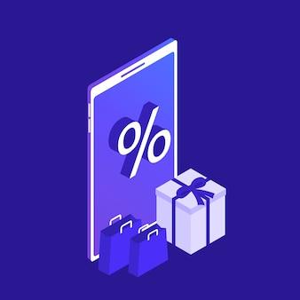 Smart phone isometrico acquisti online. negozio online. grande vendita. e-commerce. illustrazione moderna