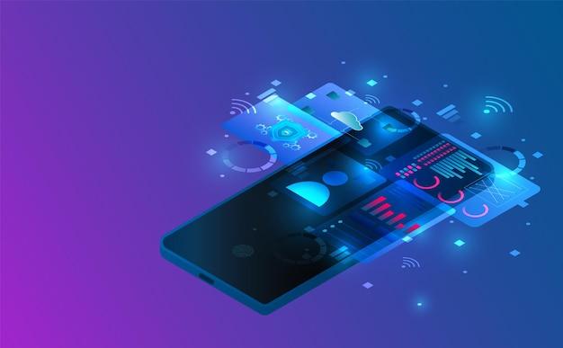 Illustrazione futuristica di concetto del collegamento isometrico dello smartphone