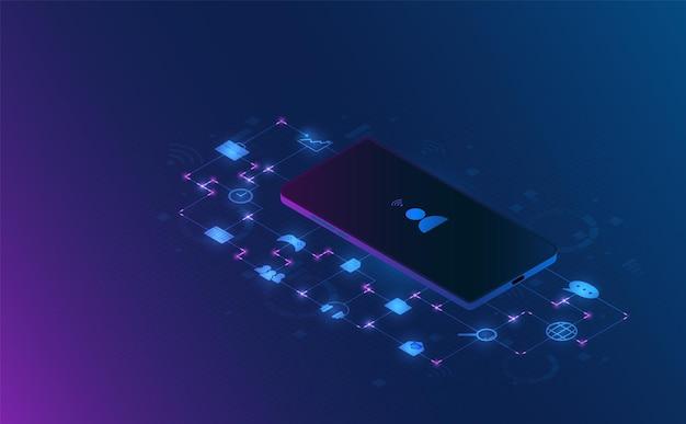 Illustrazione futuristica di concetto di informazioni personali dello smartphone isometrico