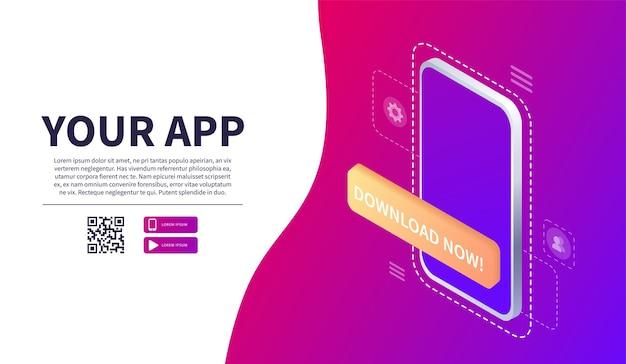 Scansione isometrica del codice qr per smartphone pagina di download dell'app mobile banner web concetto web Vettore Premium