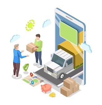 Corriere isometrico del camion dello smartphone che dà il pacco all'illustrazione piana di vettore del cliente online home de...