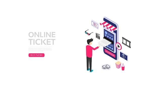 Smartphone isometrico con icona dell'applicazione, prenotazione biglietti online