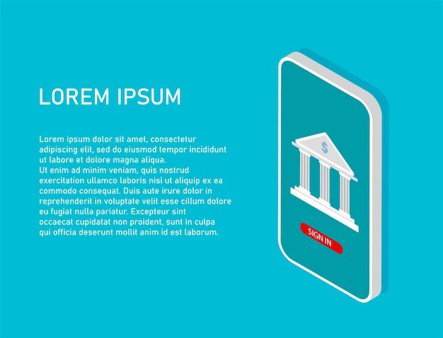Smartphone isometrico con icona della banca sullo schermo concetto di online banking con posto per il testo