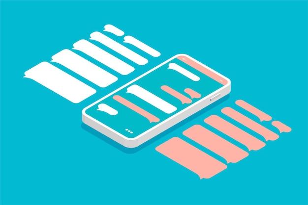 Smartphone isometrico con finestre di dialogo vuote isolate su priorità bassa blu. modelli vuoti di messaggistica fumetti.