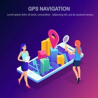 Smartphone isometrico con app di navigazione gps, tracking.