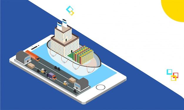 Smartphone isometrico con sistema di tracciamento della spedizione.