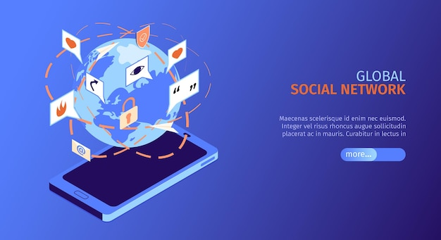 Banner orizzontale isometrica di social media con social network globale