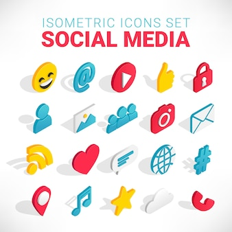 Insieme dell'icona di social media isometrica. 3d con chat, video, posta, telefono, hashtag, like, segno musicale