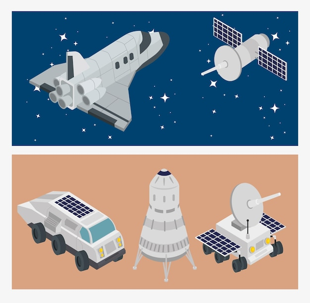 Set di icone di scena spaziale isometrica