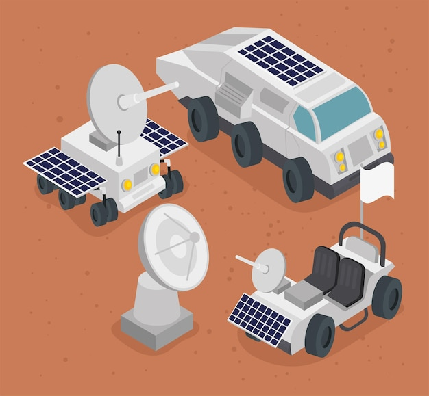 Icone stabilite della stazione spaziale isometrica