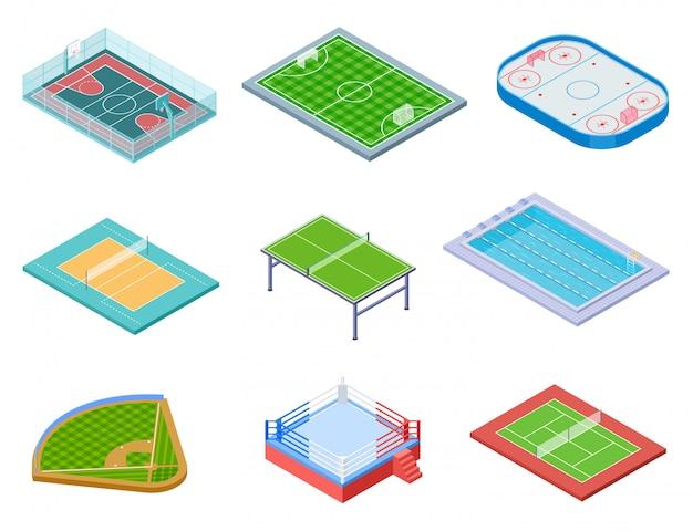 Set di campi sportivi isometrici