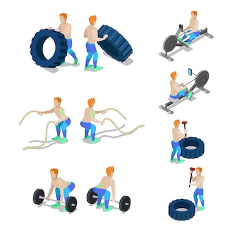 Sportivi isometrici su allenamento in palestra crossfit ed esercizi. vector 3d illustrazione piatta