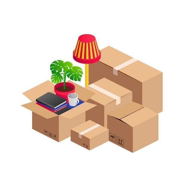 Pila isometrica di scatole di cartone e mobili per la casa. azienda di trasporto, concetto di servizio di trasferimento