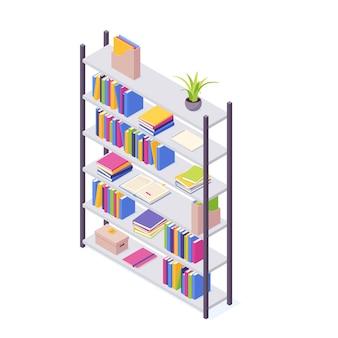 Pile isometriche di libri con illustrazione con copertina rigida