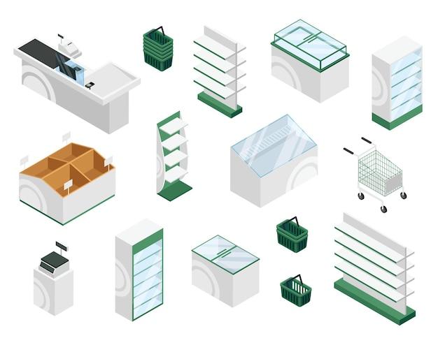 Mobili da negozio isometrici scaffali per cassa da banco espositore per cestini carrello interno del supermercato