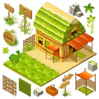 Cottage di paglia isometrica.