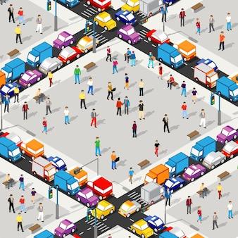 Illustrazione 3d dell'incrocio stradale isometrico del quartiere della città con case, strade, persone, automobili. illustrazione stock per l'industria del design e dei giochi.