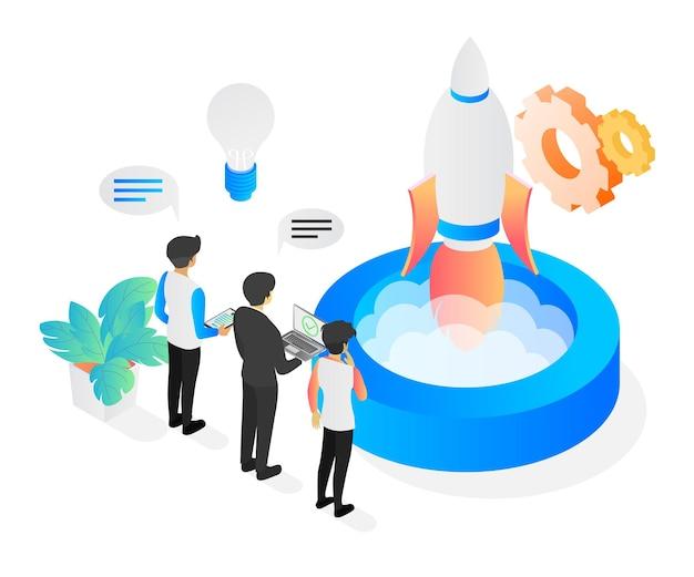 Illustrazione in stile isometrico sull'avvio di app aziendali con lancio di razzi