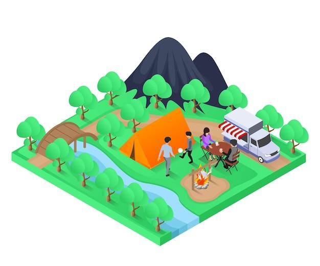 Illustrazione in stile isometrico di una famiglia che sceglie il campeggio per le proprie vacanze
