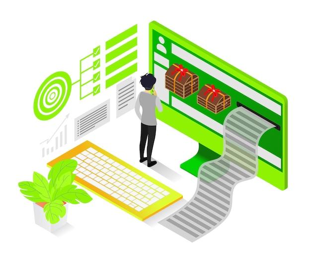 Illustrazione in stile isometrico su feedback o bonus per il cliente il migliore