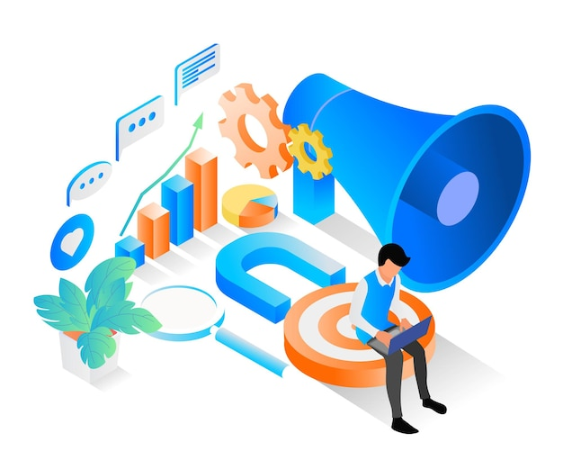 Illustrazione in stile isometrico sulla strategia di marketing con imbuto e carattere
