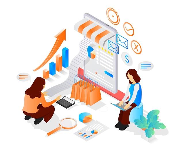 Illustrazione in stile isometrico sull'apertura del negozio online