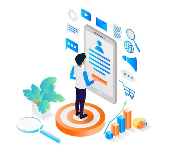 Illustrazione in stile isometrico sulla strategia di social media marketing con smartphone e icona