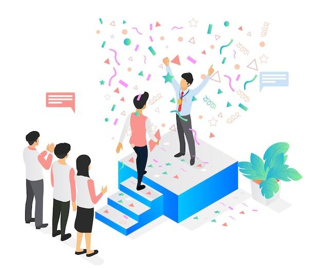 Illustrazione in stile isometrico su affari di successo con qualcuno sul podio