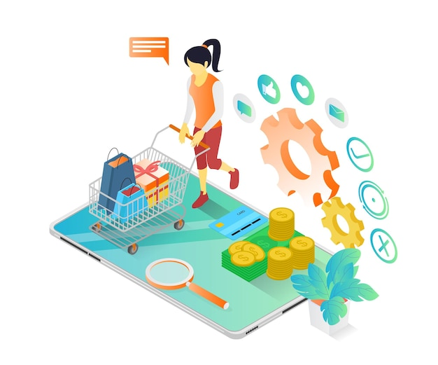 Illustrazione in stile isometrico di una donna che fa shopping in un negozio online sul suo smartphone