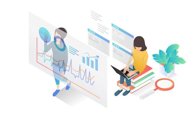Illustrazione in stile isometrico dell'analisi dei dati aziendali con personaggi e guide aziendali