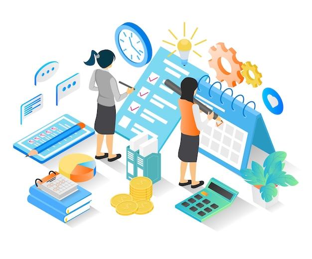 Illustrazione in stile isometrico del programma di pianificazione aziendale con caratteri e data