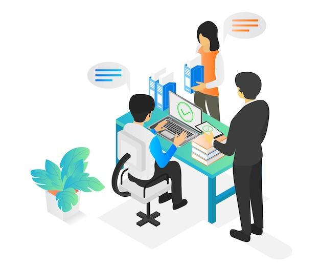 Illustrazione in stile isometrico di un team aziendale al lavoro