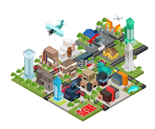 Illustrazione in stile isometrico della mappa della città con parco cittadino e magazzino o uffici