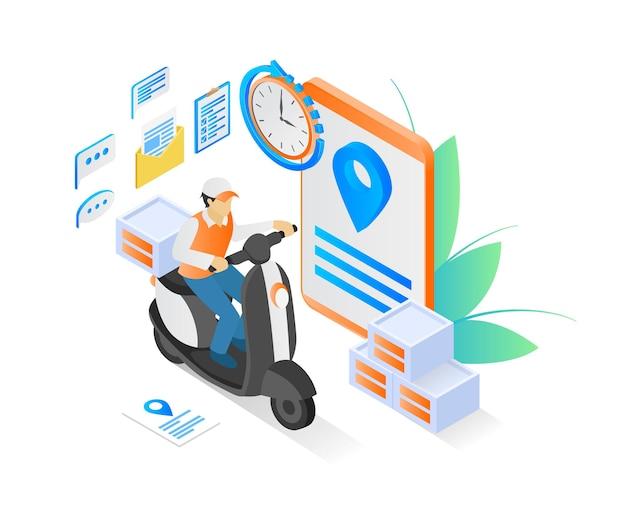 Illustrazione in stile isometrico dell'ordine di consegna con scooter matic e smartphone