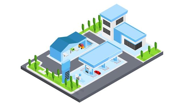 Illustrazione in stile isometrico di una stazione di servizio completa di autolavaggio e negozio