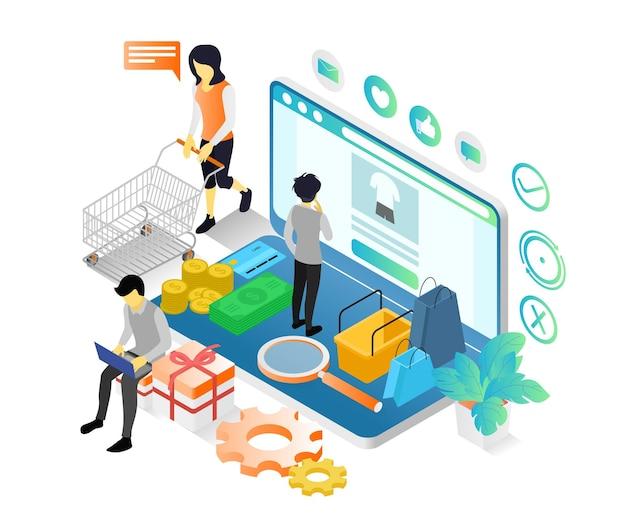Illustrazione in stile isometrico di un uomo che fa shopping in un negozio online sul suo laptop