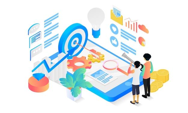 Illustrazione in stile isometrico della strategia di marketing con carattere e obiettivo