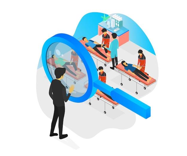 Illustrazione in stile isometrico di una persona che osserva le attività di un medico da una lente d'ingrandimento