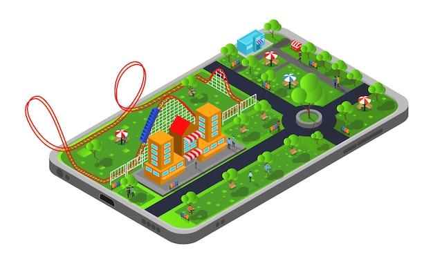 Illustrazione in stile isometrico di un parco giochi per le vacanze con montagne russe e personaggi