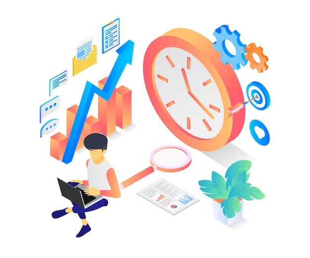 Illustrazione in stile isometrico della gestione del tempo negli affari