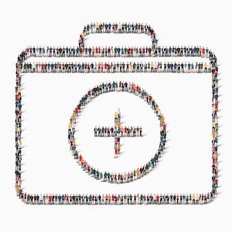 Concetto di infographics di web della medicina del kit di stile isometrico