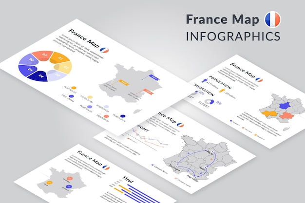 Stile isometrico parigi mappa infografica