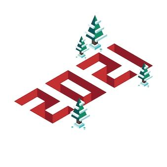 Stile isometrico con effetto profondità felice anno nuovo con alberi di pino.