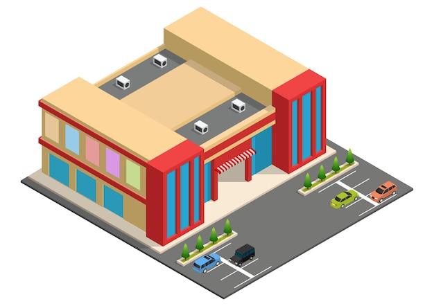 Edificio supermercato isometrico con parcheggio auto. edificio del centro commerciale della città.