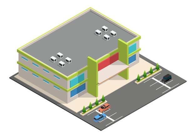 Edificio supermercato isometrico con parcheggio auto.