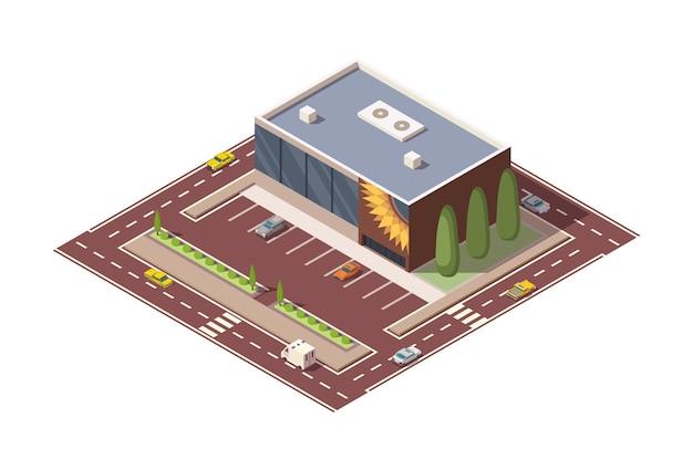 Costruzione e strada isometrica del supermercato o della drogheria. edificio del centro commerciale con parcheggio