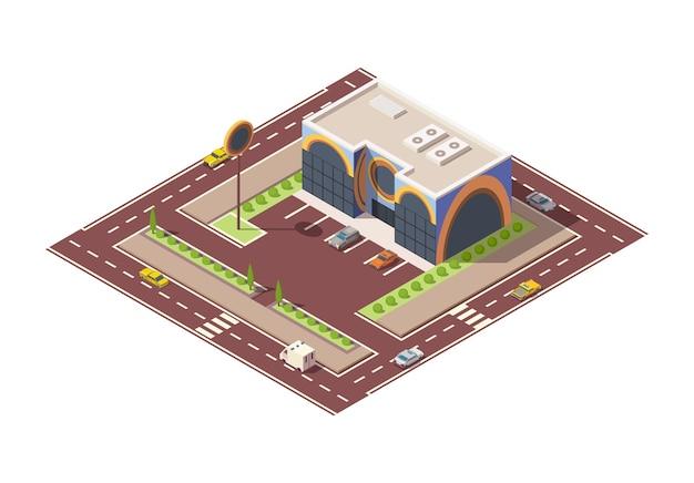 Supermercato isometrico o edificio e strada del negozio di alimentari