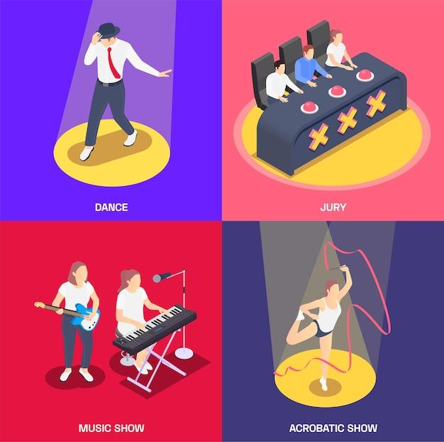 Set di carte del talent show isometrico
