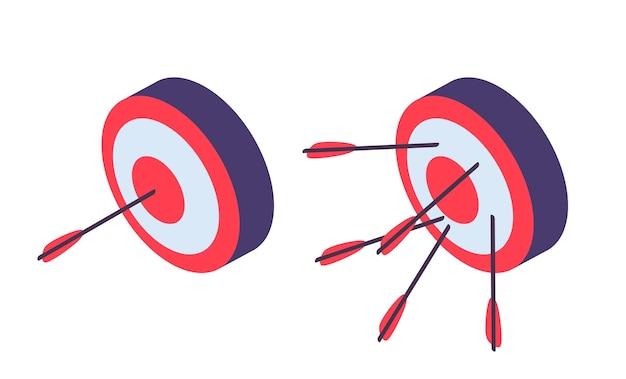 Obiettivi isometrici. tiro con l'arco, freccia in porta e fallimento. metafora di ambizioni aziendali, illustrazione di successo e fallimento. icone di vettore del gioco di freccette isolate. obiettivo raggiungimento, obiettivo sportivo isometrico