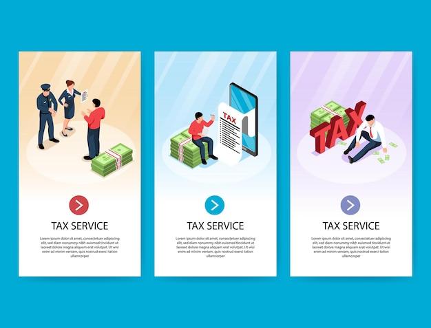 Set di banner servizio fiscale isometrico